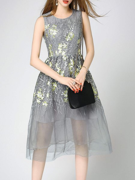 Gray Mesh See Through A-line Sleeveless Floral-embroidered Midi Dress