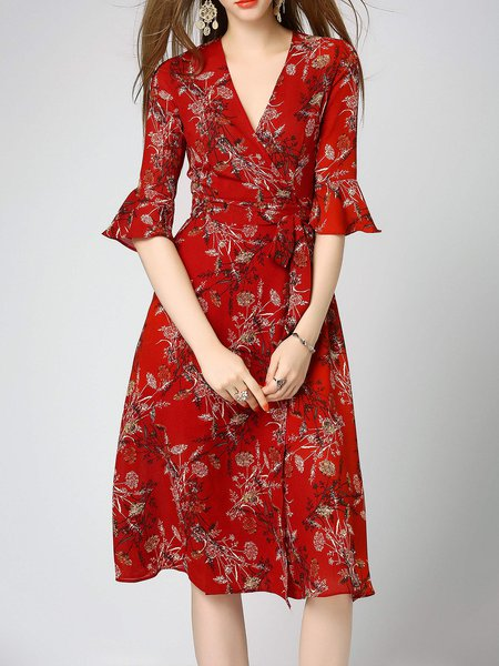 Surplice Neck Red Midi Dress A-line Daytime Casual Wrap Dress