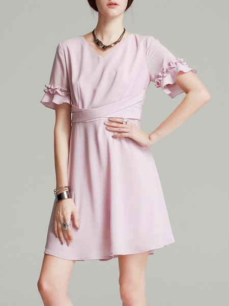 Frill Sleeve Girly Solid Ruffled V Neck A-line Chiffon Mini Dress