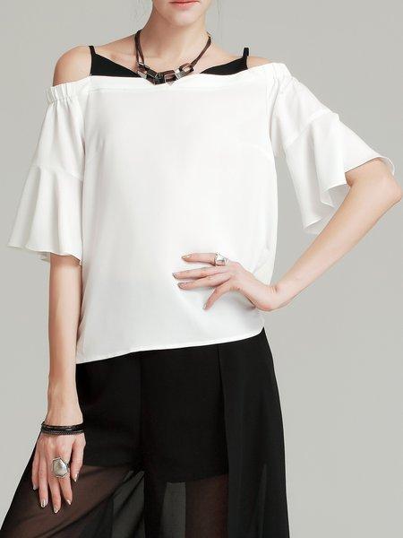 White Bell Sleeve Off Shoulder H-line Tops
