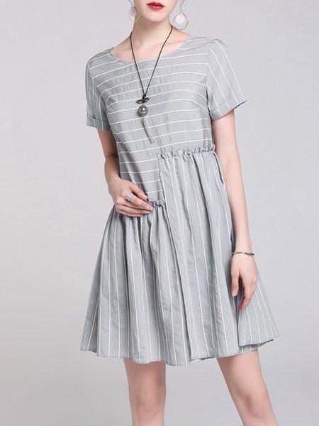 Gray Casual Ruffled Stripes A-line Mini Dress