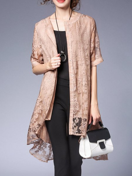 Lace Girly Crew Neck Half Sleeve A-line Coat