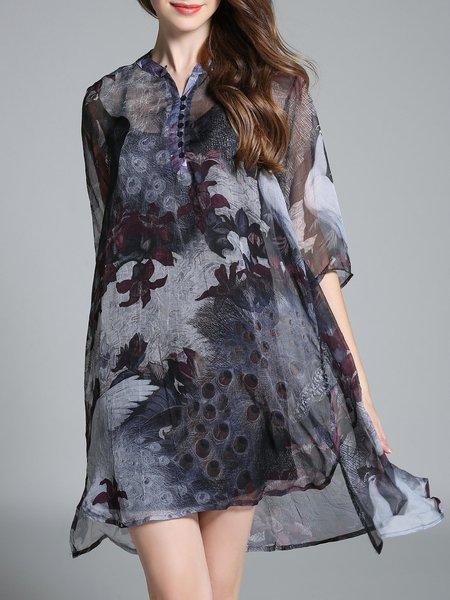 3/4 Sleeve Vintage Chiffon V Neck Floral Printed Midi Dress