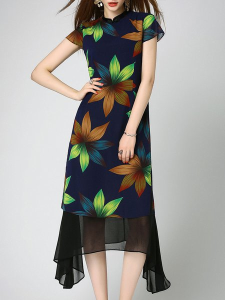 Stand Collar Short Sleeve Casual Floral-print Maxi Dress