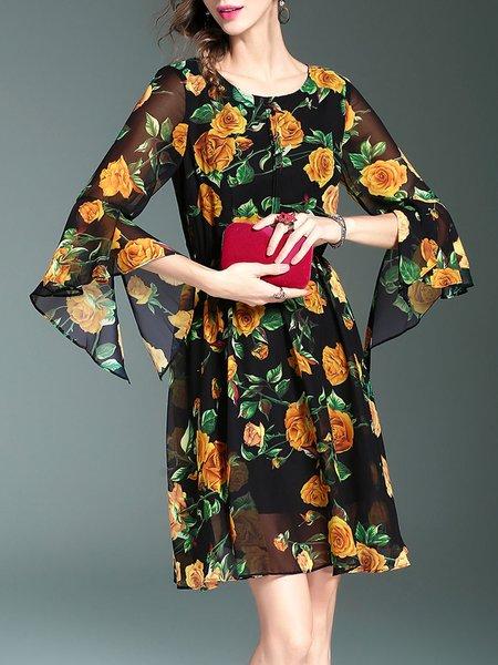 Yellow A-line Chiffon Bell Sleeve Floral-print Midi Dress