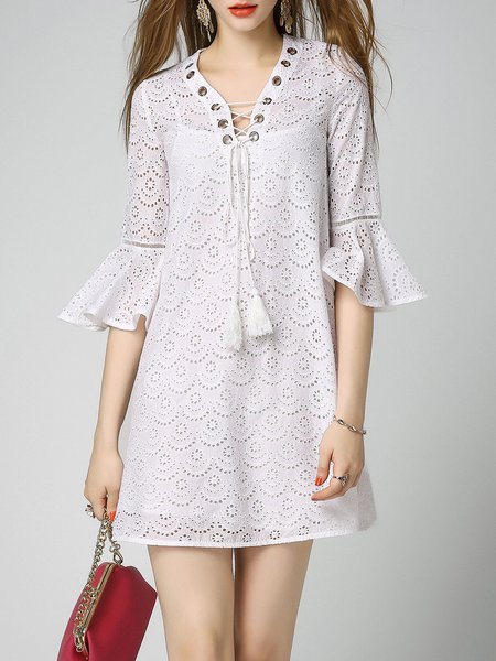 White V Neck Lace Up Bell Sleeve Mini Dress