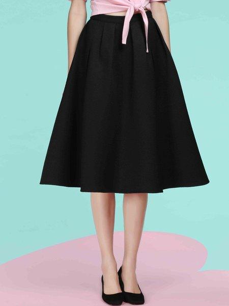 Black A-line Elegant Jacquard Midi Skirt