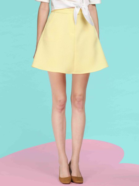 Yellow A-line Jacquard Casual Mini Skirt