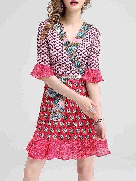 Flounce V Neck Bell Sleeve Vintage Polka Dots Midi Dress