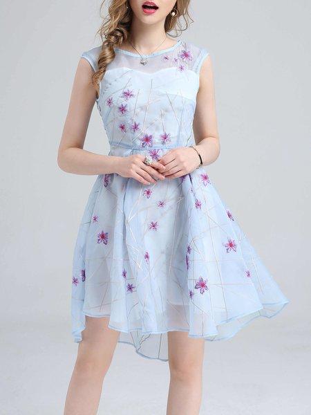 Blue Mesh Floral-embroidered Skater Sleeveless Midi Dress