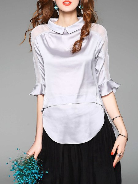 Gray Shirt Collar Bell Sleeve Lace Embroidered High Low Blouse