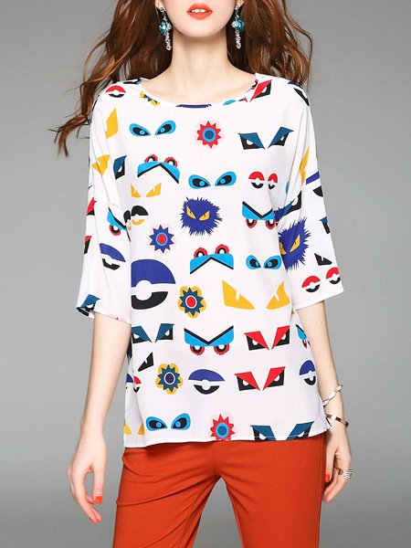 Multicolor H-line 3/4 Sleeve Printed Tops