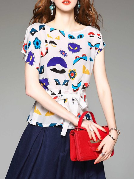 White H-line Printed Batwing Tops