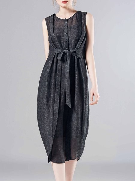 Deep Gray Buttoned Bow Crew Neck Cocoon Casual Midi Dress