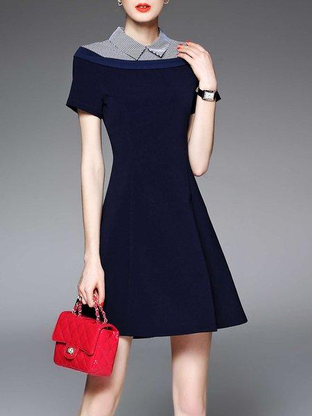 Dark Blue Stioes Short Sleeve Shirt Collar Mini Dress