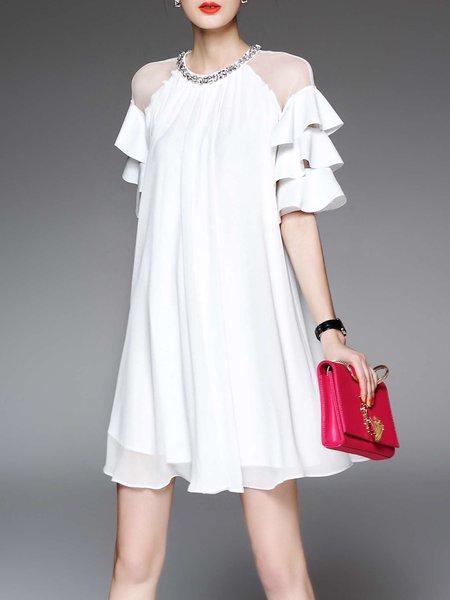 White Solid Half Sleeve Ruffled Polyester Mini Dress