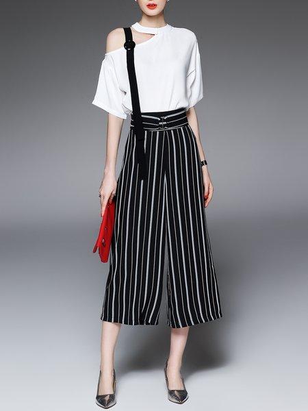 Black Casual Stripes Cutout Two Piece Jumpsuit