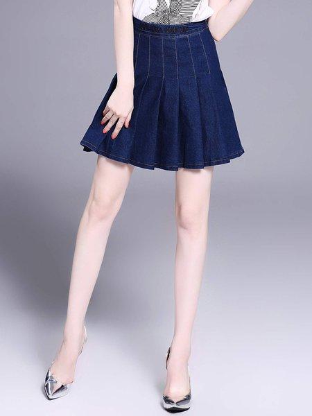 Dark Blue Denim Pleated Casual Mini Skirt