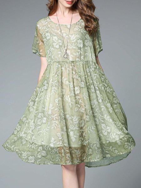 Green Chiffon Floral-print Short Sleeve Crew Neck Midi Dress
