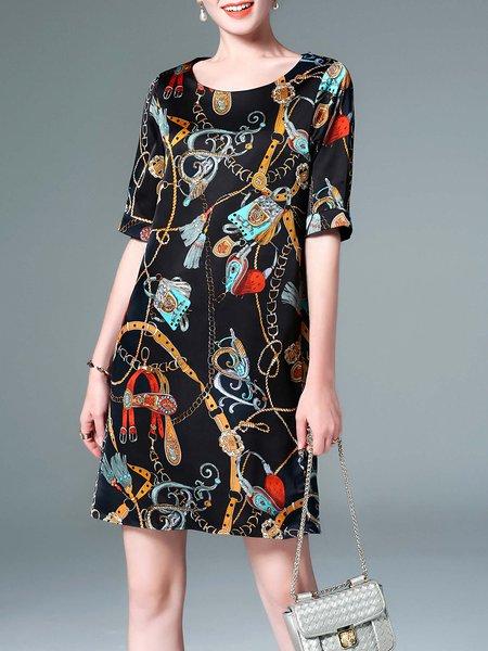 Black Tribal Printed Half Sleeve Midi Dress