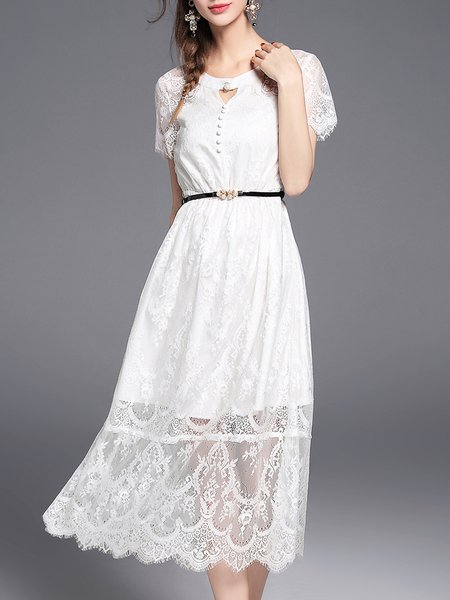 White Pierced Lace Crew Neck Girly A-line Midi Dress