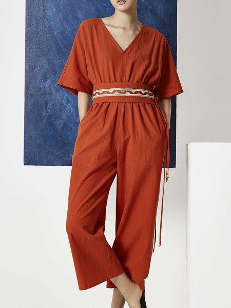 Red 3/4 Sleeve V Neck Printed Wide Leg Jumpsuit