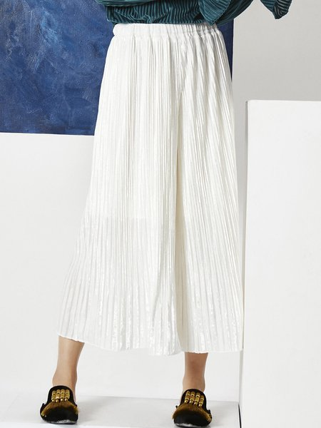 White Solid Polyester Pleated Casual Culottes Pants