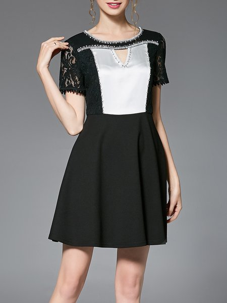 Black Lace Paneled Short Sleeve Color-block Mini Dress