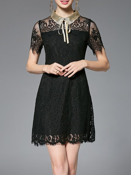 Black Girly Pierced Lace Shirt Collar Mini Dress