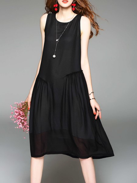 Solid Sleeveless A-line Casual Midi Dress