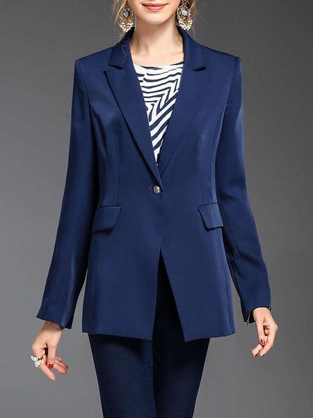 Folds Lapel Formal Long Sleeve Solid Blazer