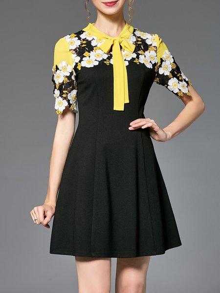 Stand Collar Pierced Folds Short Sleeve Mini Dress
