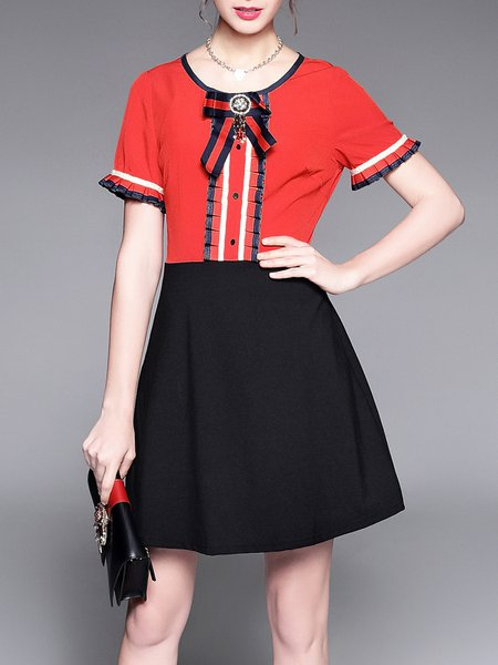 A-line Casual Color Block Bow Shorts Sleeve Mini Dress
