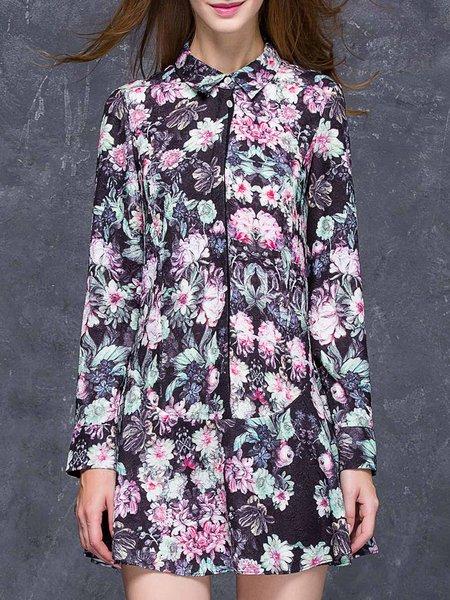 Long Sleeve Floral-print Casual Shirt Collar Floral Mini Dress