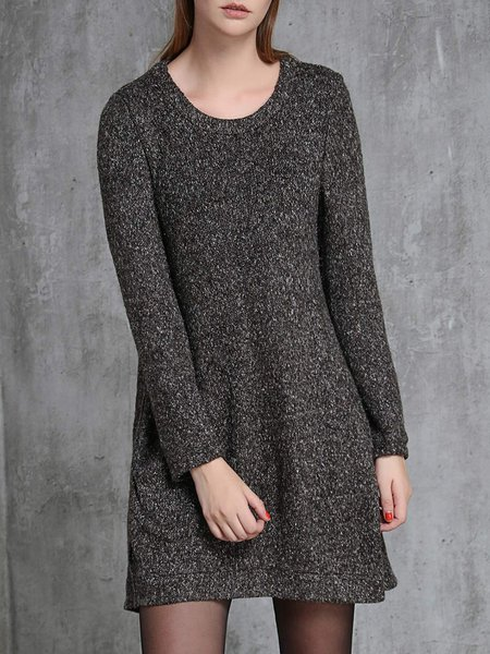 Knitted Long Sleeve Solid Simple Sweater Dress