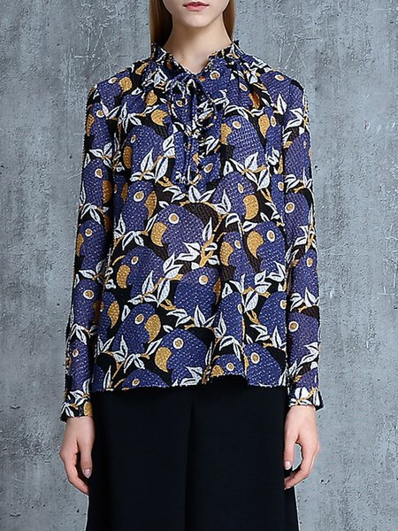 Multicolor Printed Long Sleeve Shift Stand Collar Blouse