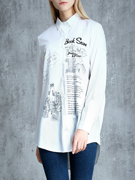 White Printed Long Sleeve Shift Cotton Blouse