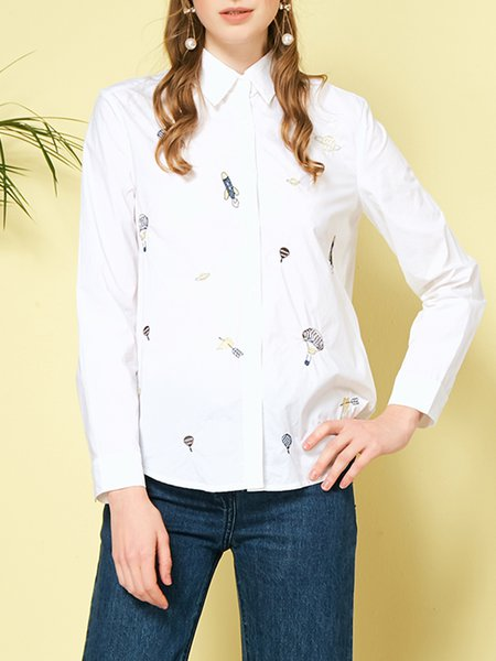 White Shirt Collar Embroidered Casual Cotton Blouse