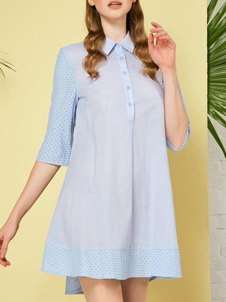 3/4 Sleeve Shirt Collar Paneled Cotton Shirt Dress