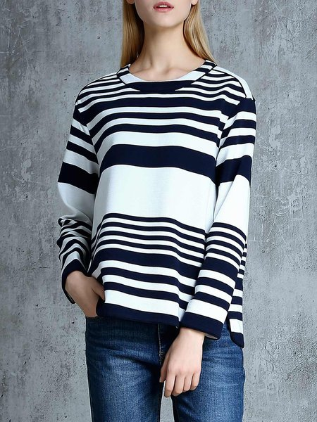 Stripes Knitted Long Sleeve Crew Neck Sweater