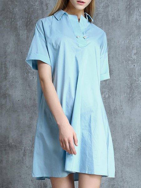 Short Sleeve Simple Shift Solid Cotton-blend Shirt Dress