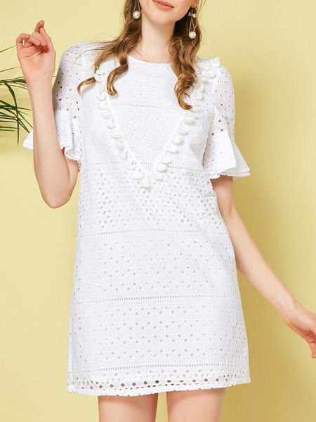 White Girly Eyelet Crew Neck Cotton Mini Dress