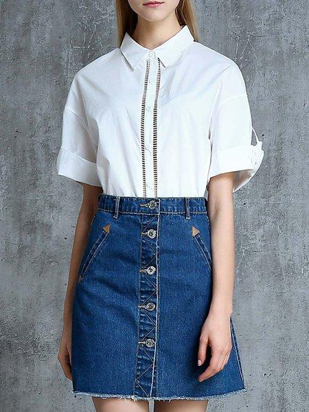 Folds Shirt Collar Casual Shorts Sleeve Cotton-blend Blouse