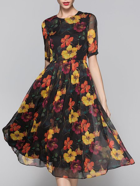 Multicolor Floral-print Short Sleeve Swing Midi Dress