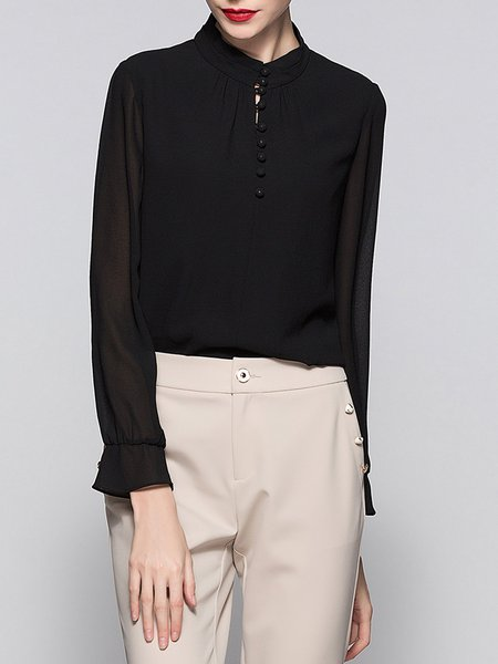 Black Bell Sleeve Buttoned Stand Collar Blouse