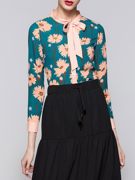 Green Floral-print Bow 3/4 Sleeve Floral Blouse