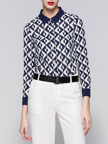 Blue Long Sleeve Geometric Printed Shirt Collar Blouse