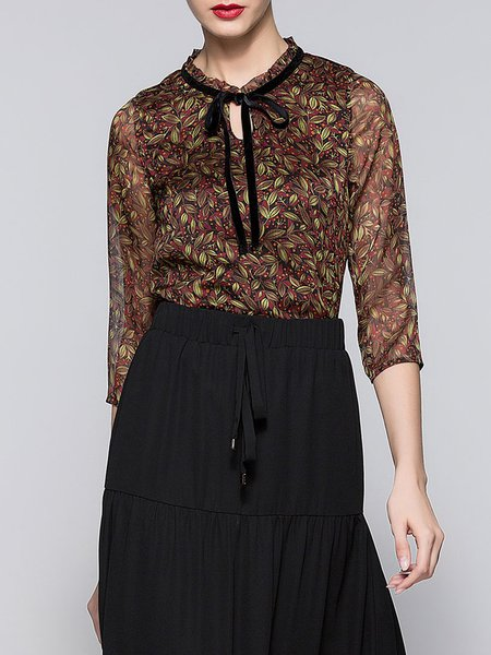 Multicolor Bow 3/4 Sleeve Printed H-line Blouse