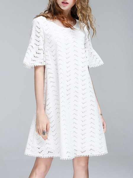 White Bell Sleeve Pierced Embroidered A-line Midi Dress