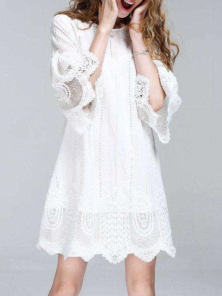 White Mini Dress A-line Daily Bell Sleeve Crochet-trimmed Dress